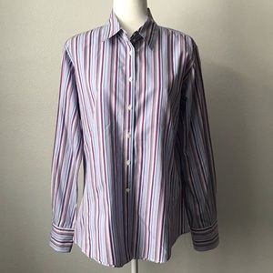 Faconnable Size 14 Top Striped Button Down Blouse
